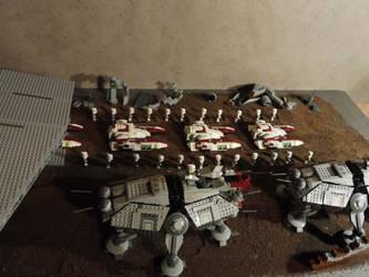 Acclamator lands reinforcements on Raxus Prime by William-Blackbird