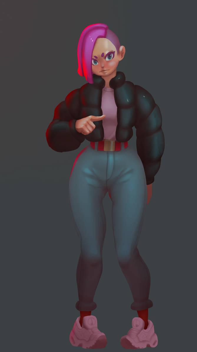 Puffy jacket girl