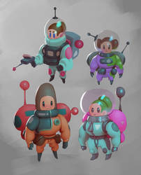 Little stylized space people by MikeTheUser