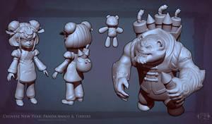 Panda Annie + Tibbers sculpt