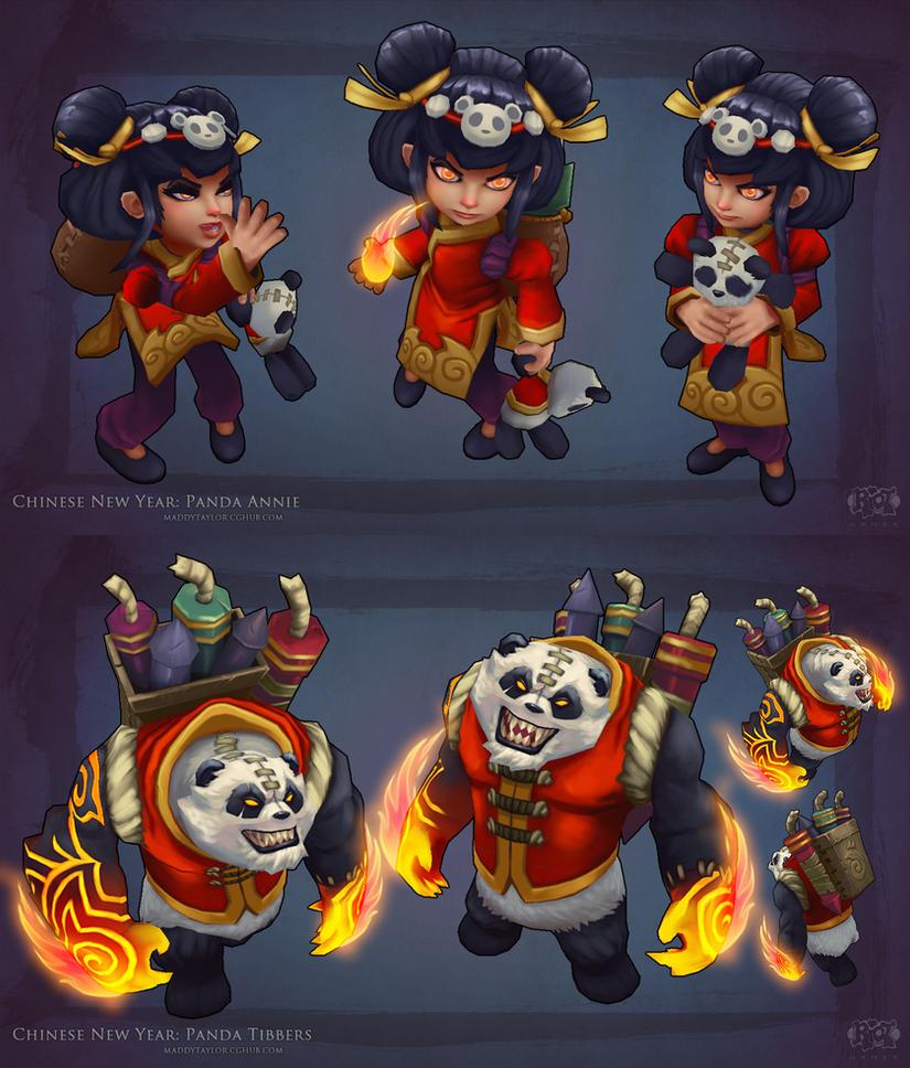 Panda Annie + Tibbers pose by MissMaddyTaylor