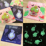 Melon Queen and Cat Ghost Pins