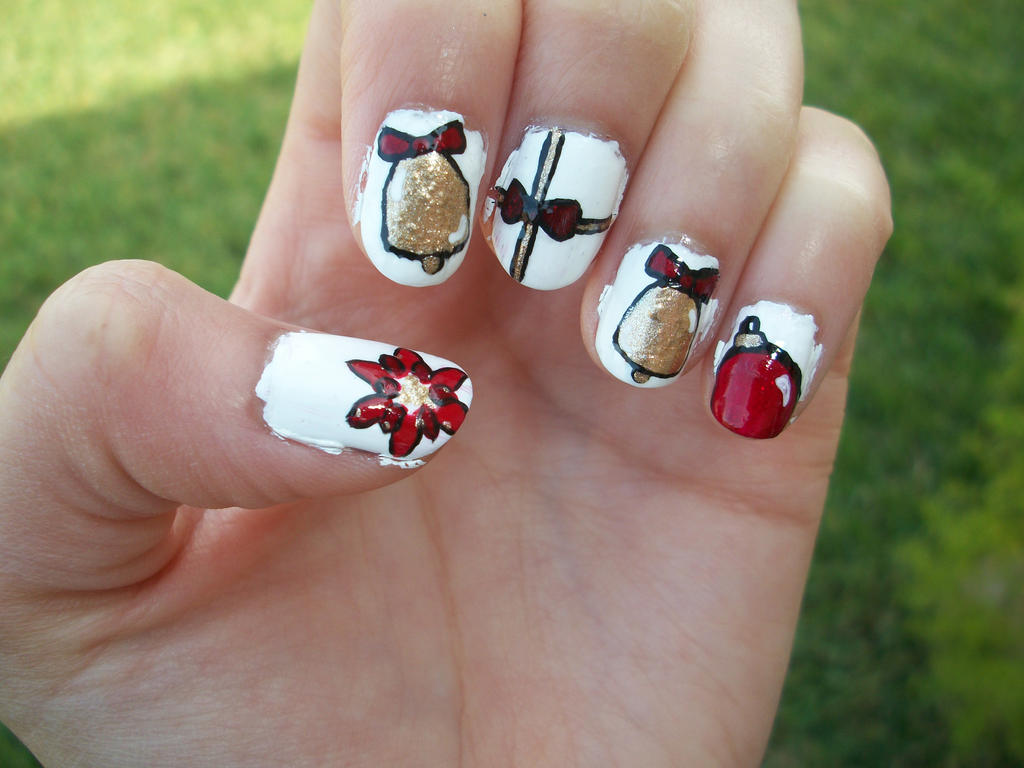 Red and Gold Nail Art Design by Itsbejarano on DeviantArt