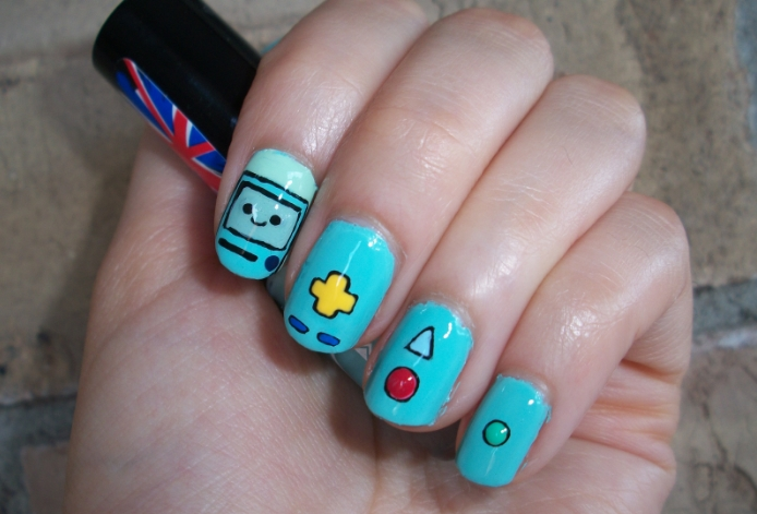 Adventure Time Inspired Nail Art Design ft. BMO by Itsbejarano on