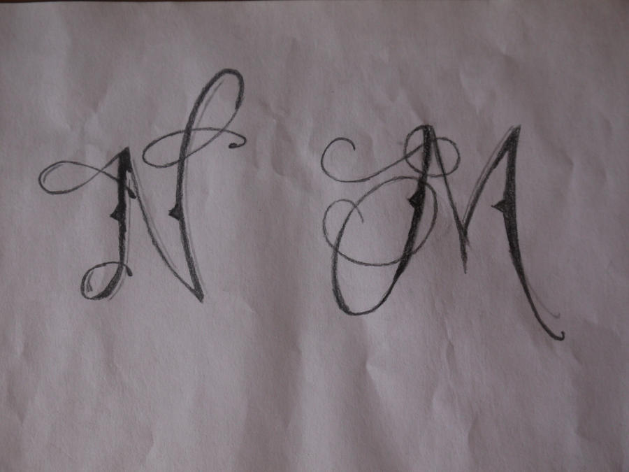 tattoo lettering n and m by nicky8 on deviantart. Black Bedroom Furniture Sets. Home Design Ideas