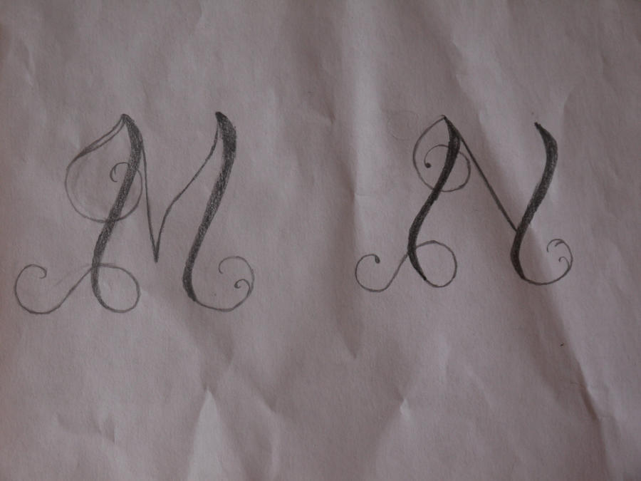 tattoo lettering m and n by nicky8