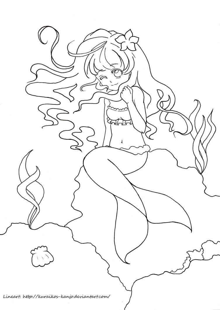 Mermaid Lineart by Kuraiko-kyun