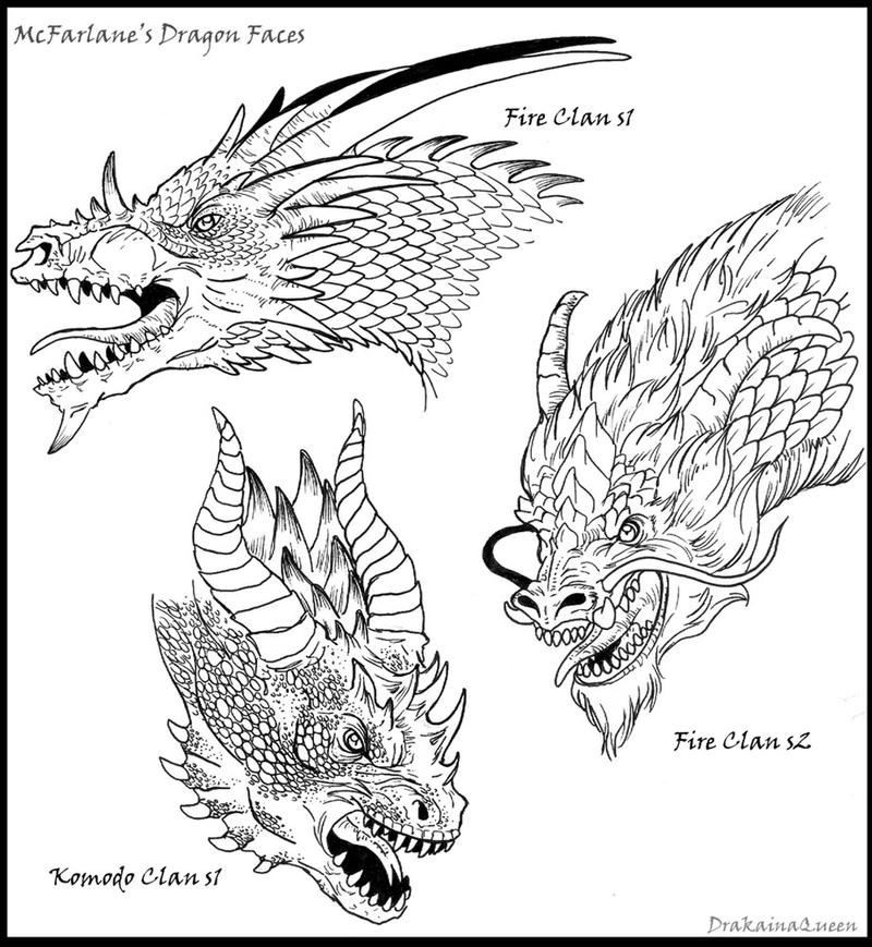 Inked Dragon Heads by DrakainaQueen