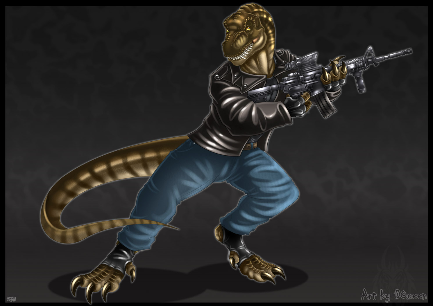Anthro T.rex - Commission by DrakainaQueen