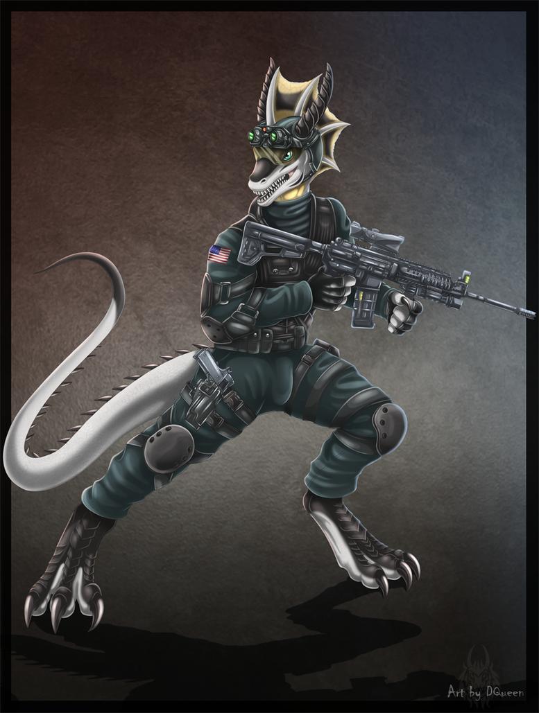 Anthro Wolf Soldier Anthro Wyvern Soldier by