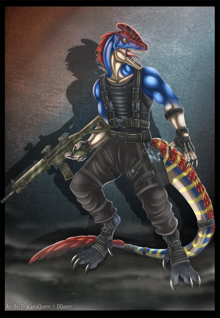 Anthro Guanlong Mercenary by DrakainaQueen