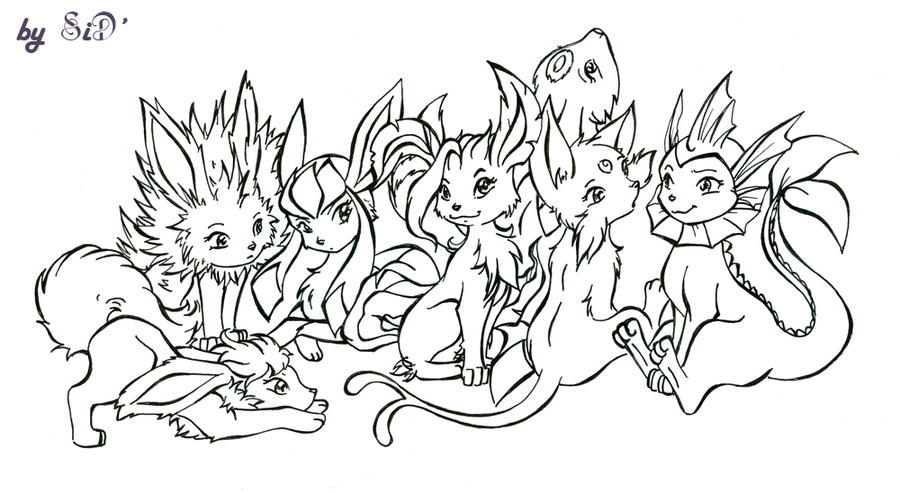 eevee evolutions coloring pages - umbreon and espeon coloring