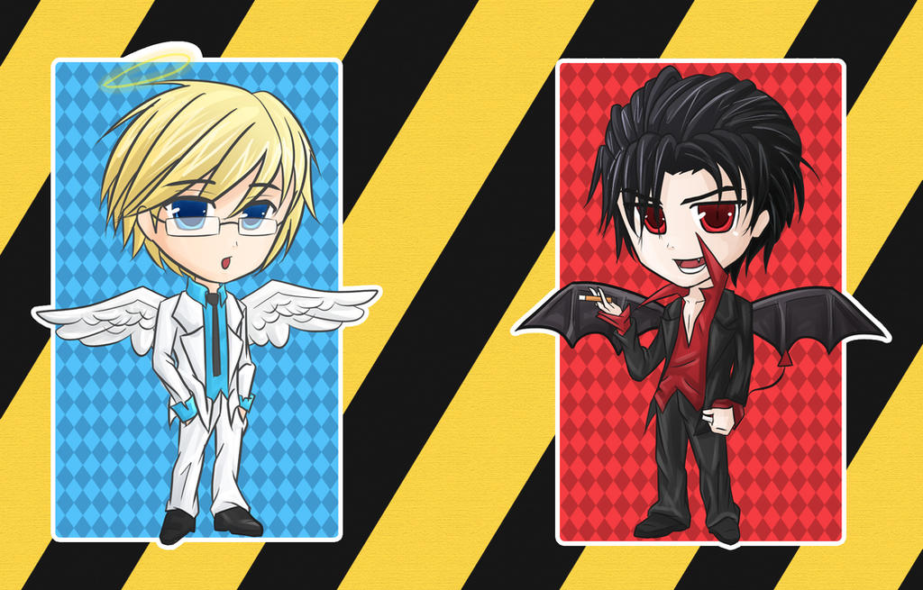 CHIBI Bookmark Angel and Devil by eonlegend