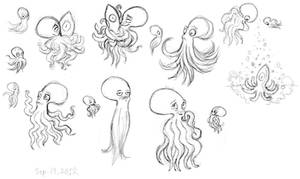 The girl and the Octopus - Sketches by Atrixfromice