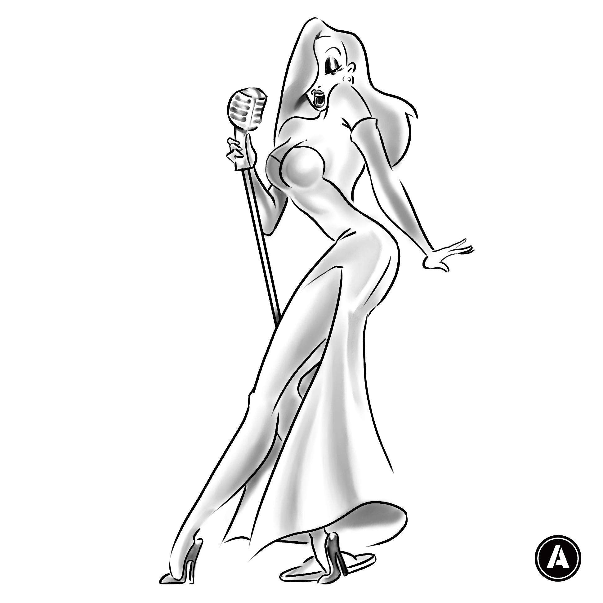 Pin Jessica Rabbit Look Alike Beautiful Black Dress Body ...