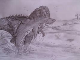 Battle of the sharktooths by Teratophoneus