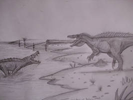 Boar-croc  vs dinosaur-croc by Teratophoneus