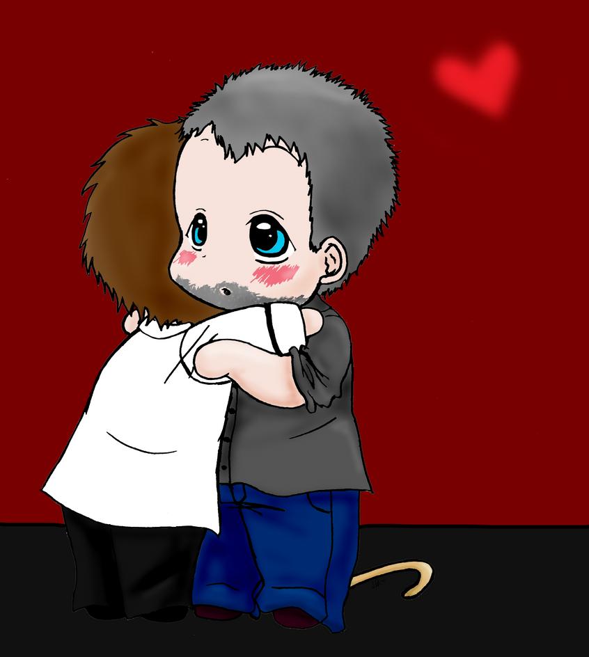 Chibis hugging - photo#26