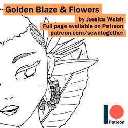 Golden Blaze and Flowers