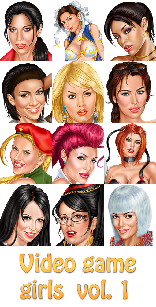 12 erotic pinup pictures. Celebrities drawn as video game girls