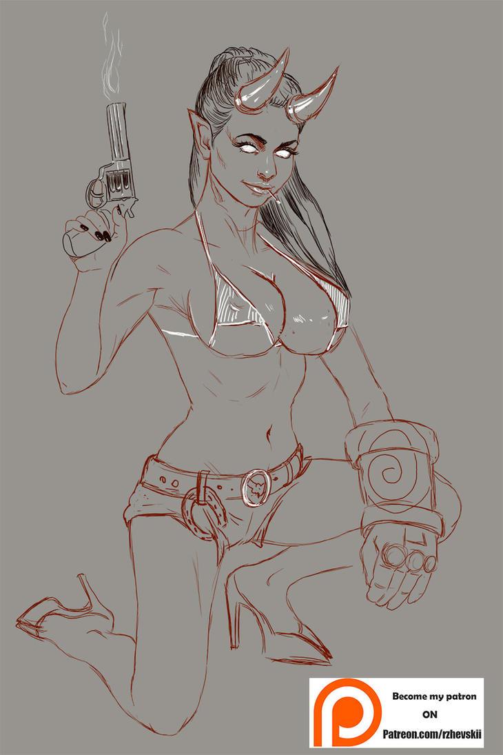 Hellgirl Sketch by rzhevskii