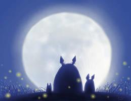 Totoro with Full Moon