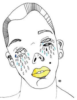 Anonimo de labios amarillo llorando azul