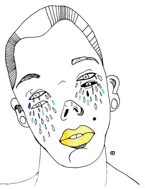 Anonimo de labios amarillo llorando azul by cicart