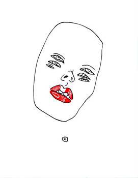 Cara flotando con labios rojos