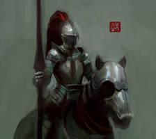 Mounted Knight by Enu-kamesama
