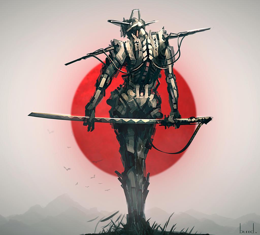 Cyborg Samurai by blee-d