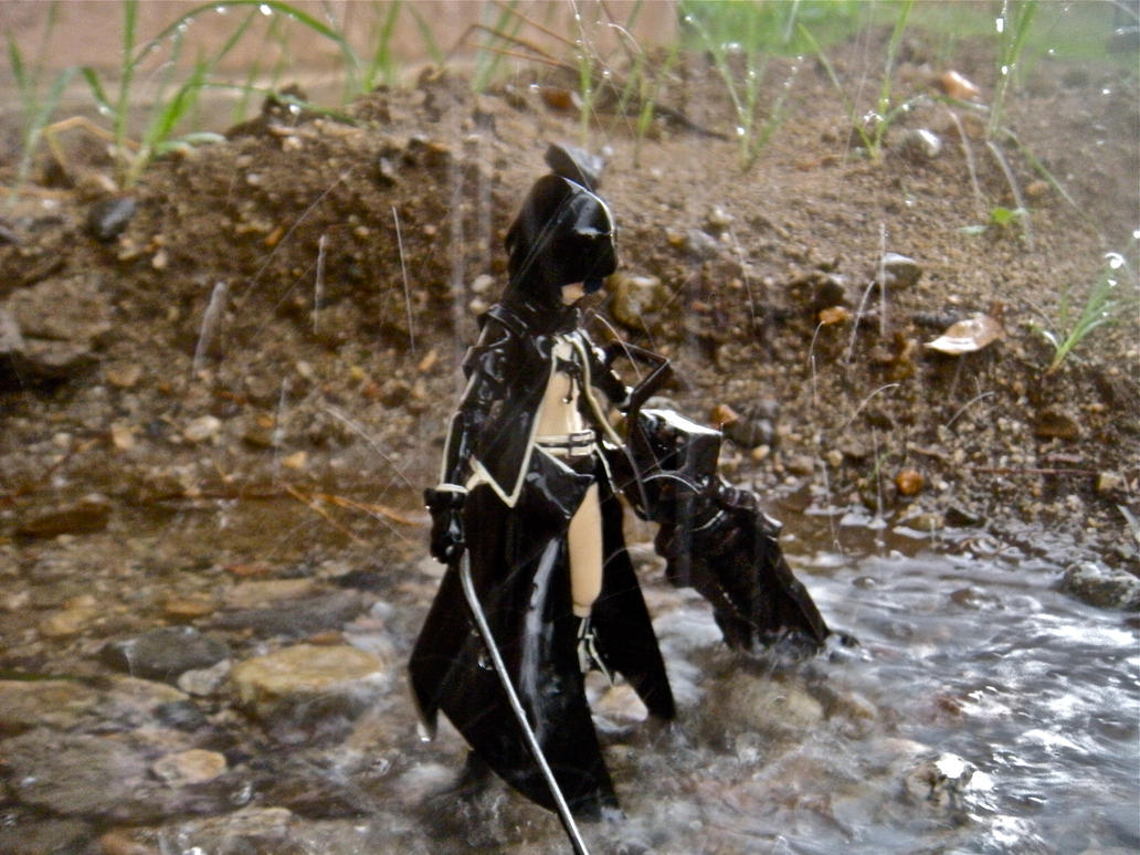 Black rock shoter in the rain. by PokepictureFigurefun