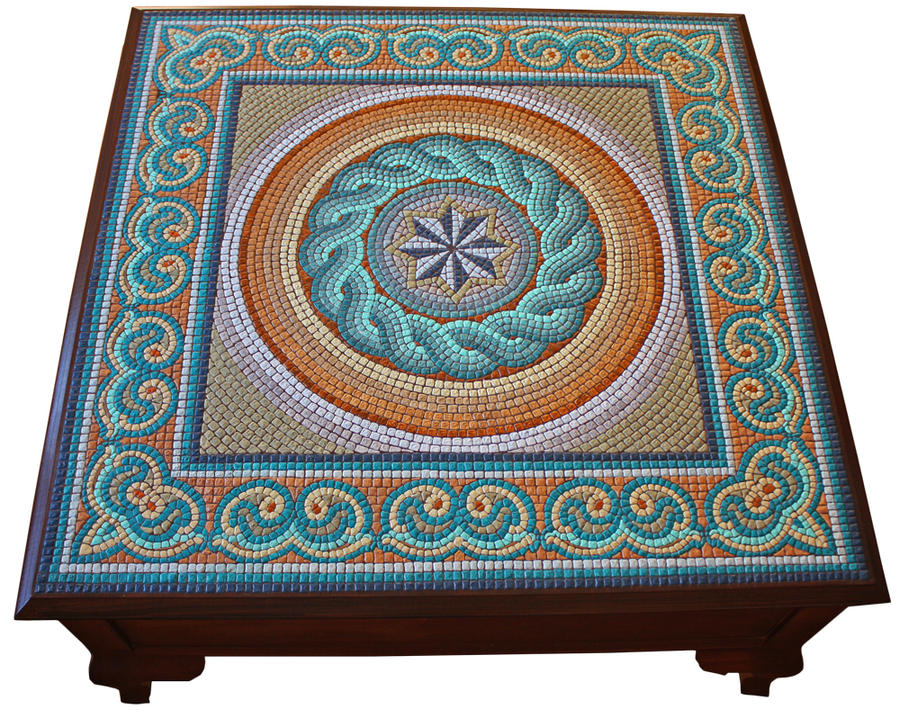 The great mosaic coffee table by birsenmahmutoglu on for Mosaic coffee table designs
