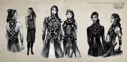 Avari Costume Sketches