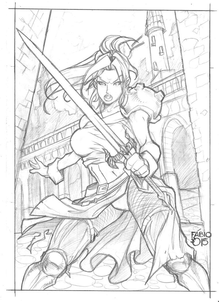 Alleandra Braveheart (Pencils) by FABIOMETALCORE