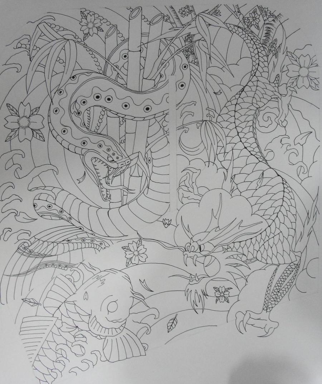 snake dragon n koi outline by gdc1072 on deviantart. Black Bedroom Furniture Sets. Home Design Ideas