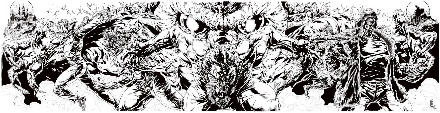 Classic Monsters by Caanan White Inked by GDC