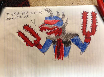 Gigan's rage (vent drawing) by ChevyRW