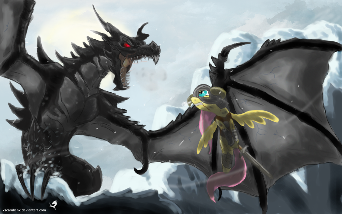 dovashy_against_alduin_by_xscaralienx-d4