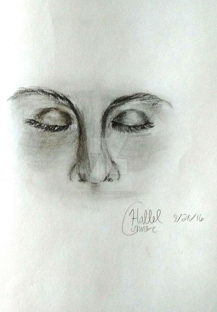 Realism Practice#2 (Charcoal Eyes and Nose) by LightGirl-01