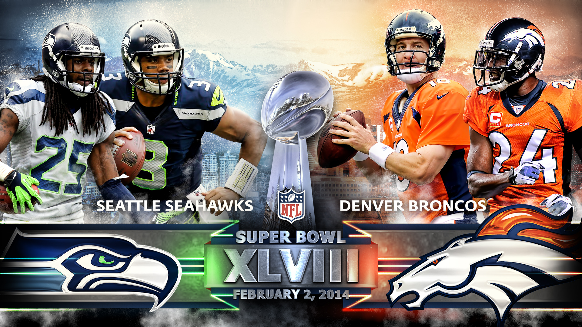 Super Bowl 48 Seattle Seahawks Denver Broncos Wall By