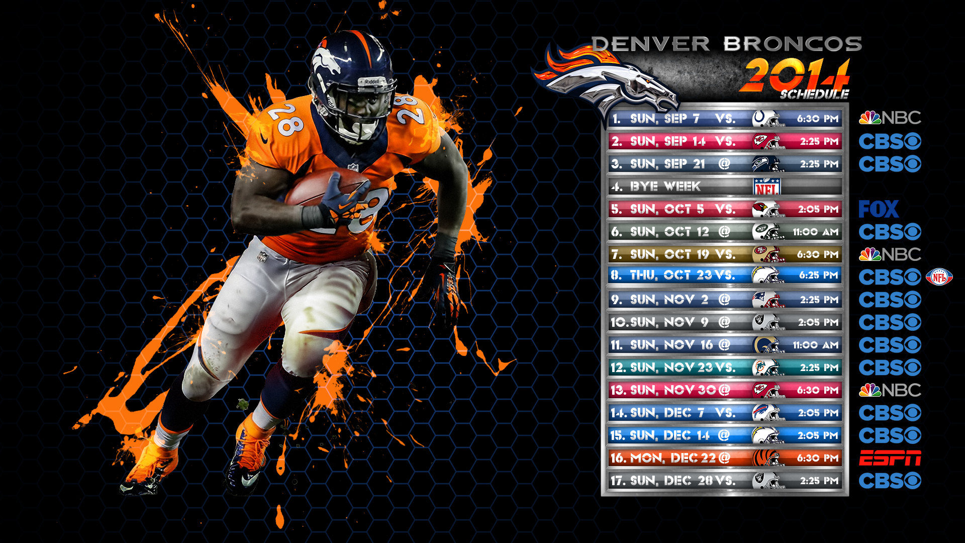 2014 Denver Broncos Schedule Wallpaper by DenverSportsWalls on