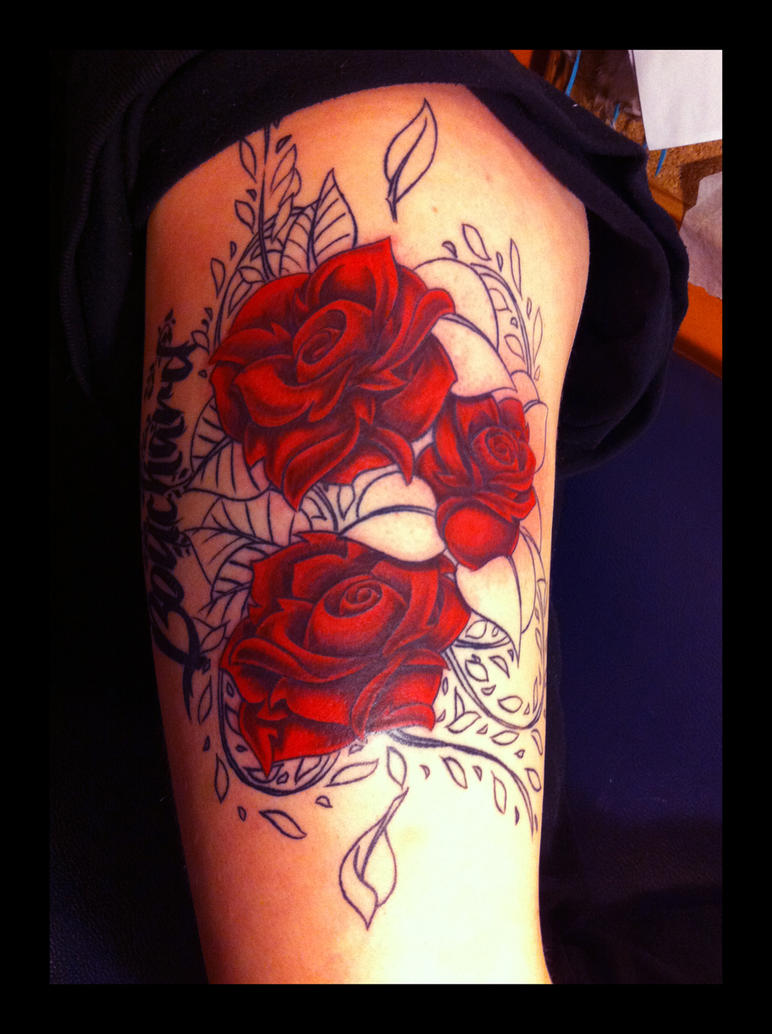 Roses tattoo in progress by puppetdude on deviantart for 3 roses tattoo