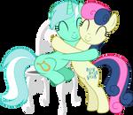 Lyra and Bon Bon - Hugging