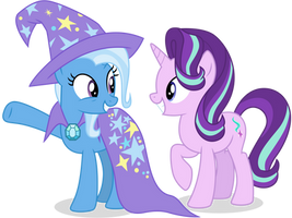 Trixie and Starlight - He Did It! by CaliAzian