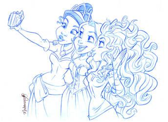 Tiana, Rapunzel and Merida by andersonmahanski