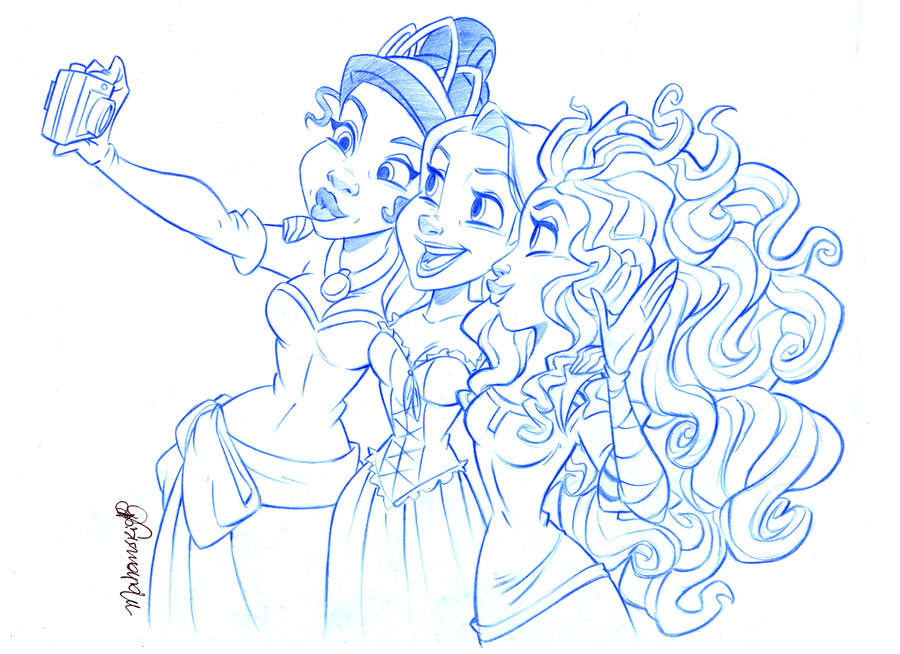 Tiana, Rapunzel and Merida by andersonmahanski