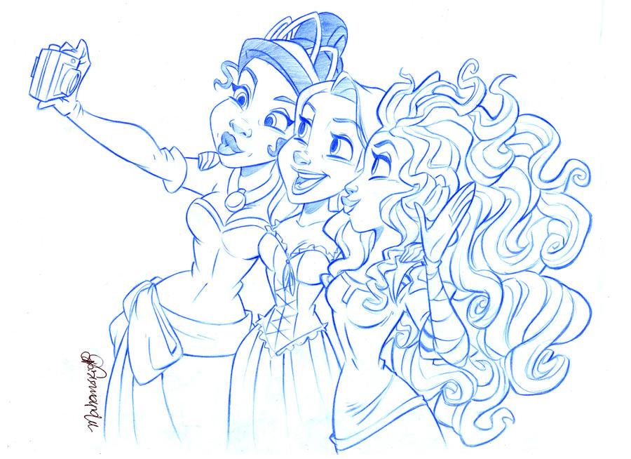 Tiana, Rapunzel And Merida By Andersonmahanski On DeviantArt