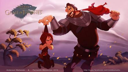 Arya Stark and The Hound by andersonmahanski