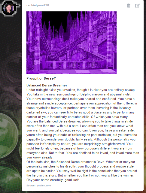 Homestuck Prospit Or Derse Quiz Result By Leonah728 On Deviantart